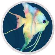 Angelfish I - Solid Background Round Beach Towel