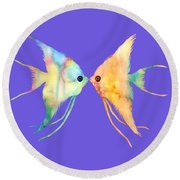 Angelfish Kissing Round Beach Towel by Hailey E Herrera