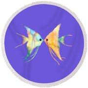 Angelfish Kissing Round Beach Towel