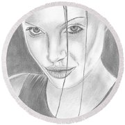 Angelina Jolie Round Beach Towel