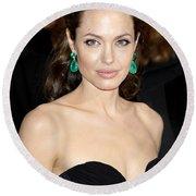 Angelina Jolie Round Beach Towel by Nina Prommer