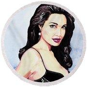 Angelina Jolie Portrait Round Beach Towel