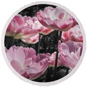 Angelique Peony Tulips Round Beach Towel