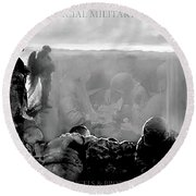 Angels And Brothers Black And White Round Beach Towel