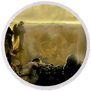 Angels And Brothers Round Beach Towel
