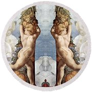 Angels And Fruits Round Beach Towel
