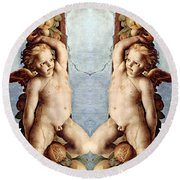 Angels And Pears Round Beach Towel