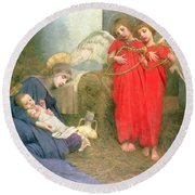 Angels Entertaining The Holy Child Round Beach Towel