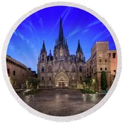 Angels Flying In Front Of The Cathedral Of The Holy Cross And Sa Round Beach Towel