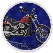 Angels Harley - Oil Round Beach Towel