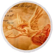 Angels On Guard Round Beach Towel