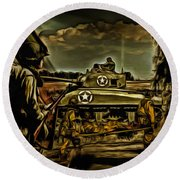 Angels On The Battlefield - Oil Round Beach Towel