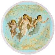 Angels Three Children Vintage Round Beach Towel