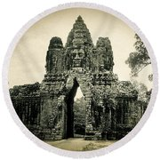 Angkor Thom Southern Gate Round Beach Towel