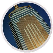 Angled View Of Central Plaza At Sunset Round Beach Towel