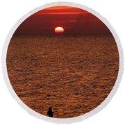 Angler In Summer Sunset Round Beach Towel