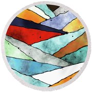 Angles Of Textured Colors Round Beach Towel