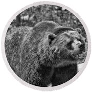 Angry Bear Black And White Round Beach Towel