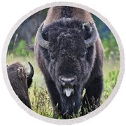 Angry Bison Round Beach Towel