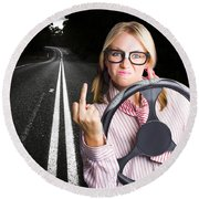 Angry Business Woman Expressing Road Rage Round Beach Towel