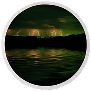 Angry Clouds Round Beach Towel
