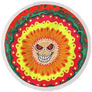 Angry Flower Round Beach Towel