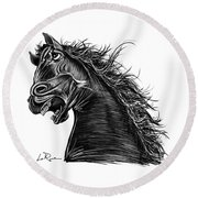 Angry Horse Round Beach Towel