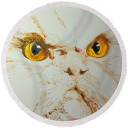 Angry Cat. Round Beach Towel