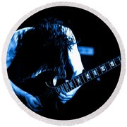 Angus Young On Guitar Round Beach Towel