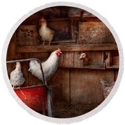 Animal - Chicken - The Duck Is A Spy  Round Beach Towel by Mike Savad