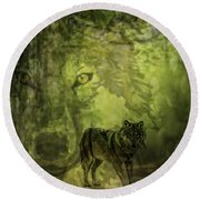 Animal Sprits - The Wolf Round Beach Towel