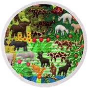 Animal Tapestry Round Beach Towel