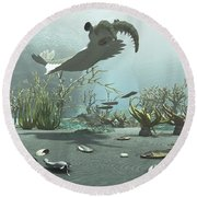 Animals And Floral Life Round Beach Towel