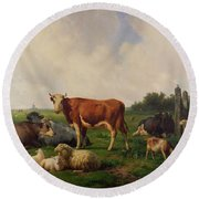 Animals Grazing In A Meadow  Round Beach Towel by Hendrikus van de Sende Baachyssun
