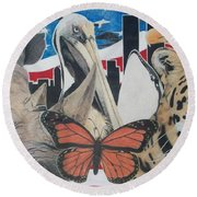 Animals Of Freedom  Round Beach Towel