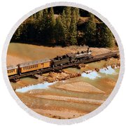 Animas River Crossing Round Beach Towel