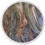 Ankor Temple Trees  Round Beach Towel