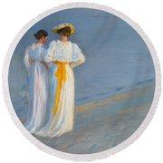 Anna Ancher And Marie Kroyer On The Beach At Skagen Round Beach Towel