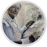 Anna Mary Robertson Round Beach Towel