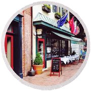 Annapolis Md - Restaurant On State Circle Round Beach Towel
