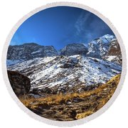 Annapurna Trail With Snow Mountain Background In Nepal Round Beach Towel