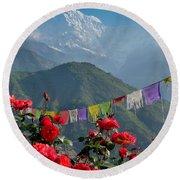 Annapurnas And Prayer Flags Round Beach Towel
