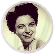 Anne Bancroft, Vintage Actress Round Beach Towel