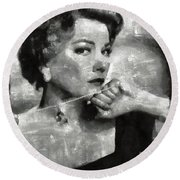 Anne Baxter Vintage Hollywood Actress Round Beach Towel