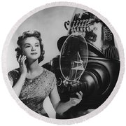 Anne Francis Movie Photo Forbidden Planet With Robby The Robot Round Beach Towel