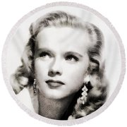 Anne Francis, Vintage Actress By John Springfield Round Beach Towel