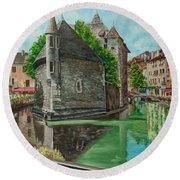 Annecy-the Venice Of France Round Beach Towel