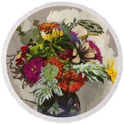 Anne's Flowers Round Beach Towel