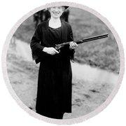 Annie Oakley, American Folk Hero Round Beach Towel