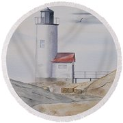 Annisquam Lighthouse 2 Round Beach Towel